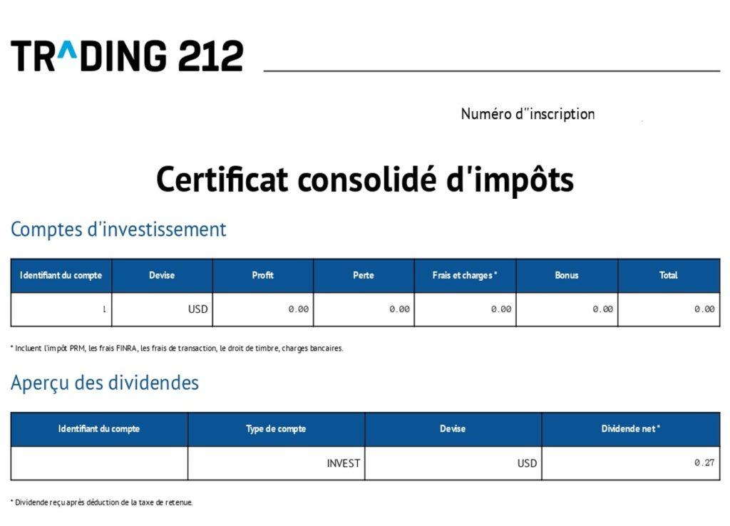 IFU trading 212 impôts fiscalité dividendes